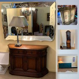 MaxSold Auction: This online auction features Vintage Furniture such as a 1930's Beveled mirror, Honduras mahogany secretary, MC Pierre Bartet stereo console, floral painted TV cabinet and more!