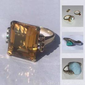 MaxSold Auction: This online auction features sterling and gold jewelry such as sterling and turquoise bracelets, sterling and stone rings; 10K and 14K yellow gold rings with diamonds and stones, chains and more!