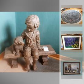 """MaxSold Auction: This online auction features Furniture such as a mid-century sideboard, side table and chrome kitchen table; LaZBoy reclining sofa and rocker; 2 twin bed suite. Original art, Poulin, Saunders and Edna Hibel prints. Collectible animal, Hummel / Goebel, Sarah's Angels and Cottage Bears figurines; Bradex, Samco, Royal Copenhagen, Lena Liu, Knowles and more decor plates; Belleek vase, Delfts, Canadian pottery. Crystal and glass cut / pressed serving pieces, beverage ware, Bohemian decanter set. China such as vintage Mitterteich, Bavaria teapot and sugar dish; 222 Fifth """"Biscotti"""" dishes. Silver plate tea / coffee set. Samsung 15"""" LCD TV. Yard and Garden statuary and Asian style pots and more!"""