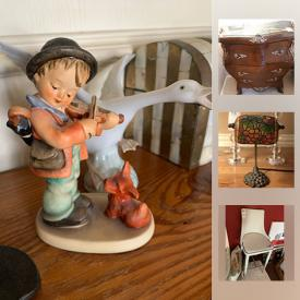 MaxSold Auction: This online auction features Vintage Tiffany Lamp, Framed Silk Artwork, Noritake China, Yeti Cooler, Lladro Figurine, Hummel Figurine, Travertine Coffee Table, Original Artwork, Outdoor Heater, Panasonic Television and much more!