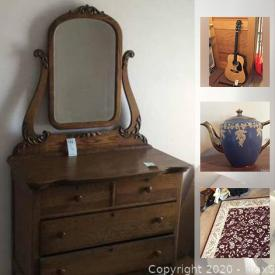 """MaxSold Auction: This online auction features an Antique oak dresser with mirror. A Vintage oak secretary and sled. Art such as Parisian market scenes. Fender Squire acoustic guitar and recorder. China includes Blue and white / Willow ware; Marcrest / Hull brown glazed; tea cup sets; Asian - Dragon ware, lustre, Nippon; Franciscan """"Deset Rose"""" dish and Stangle """"Orchard Song"""" dish sets and many serving pieces and """"one of's."""" Green GLASS, Indiana glass, milk glass cake stand and bridal basket. Costume jewelry. MUCH yarn. Electronics such as a Sanyo TV, Compaq 18.5 in. monitor and keyboard, hp printer. Skilsaw circular saw. Ladies Schwinn 3-speed bicycle / golf clubs / badminton and more!"""