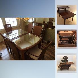 """MaxSold Auction: This online auction features Vintage furniture such as a MC chair, bedroom chest and dresser. Glass such as a set of Fenton blue hobnail plates, cream and sugar and salt n' pepper; cranberry punch bowl set. China includes a vintage Rosenthal """"Piemonte"""" dish set; Tienshan """"Deck the Halls"""" Christmas dish set for 12; a """"Monticello"""" dish set; Churchills """"Willow"""" ware; lusterware, Limoges, Wedgwood and Lenox pieces. Collectible figurative and mini teapots; vintage Christmas ornaments; Matchbox and shell collection. Sporting goods such as a women's and men's Grand Teton 3-speed bicycles; pool cue in case. Hunting gear / Camping gear / Fishing gear; Tools include work bench, vintage Craftsman saw table, antique Best Maide hand-powered table grinder, vintage pulleys for block and tackle, hardware and ladders. Yard and Garden such as Homelite chain saw, blower and weed eater, hand-tools, products / pots / decor and more!"""