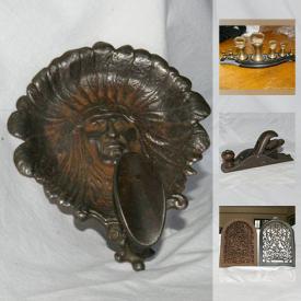MaxSold Auction: This online auction features Cast Iron Items such as a Door Knocker, Boot Remover, Hooks, Scale, Art and a Lock box, Vintage Mr. Potato Head and much more!
