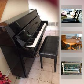 """MaxSold Auction: This online auction features Furniture such as dining tables and chair sets, buffets, china cabinet; sofa's, loveseat; side and coffee tables and bedroom components.. Regency """"Snow White"""" dish set. Le Creuset bakeware. Keys folding treadmill. Samick piano and bench and more!"""