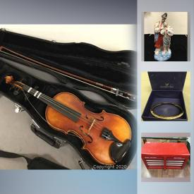 """MaxSold Auction: This online auction features 10k and 14K white and yellow gold / diamond jewelry, as well as Sterling silver and costume. A vintage William Lewis & Son violin in case. ART such as Inuit soapstone, vintage Hoselton and original watercolours. Belleeck CHINA, Royal Worcester """"Evesham"""" bake ware, vintage Cauldron, MC Thomas Rosenthal and Langley, Denmark dish sets. Men's beaver fur coat, plus ladies stoles, jackets and coats. Antique Majolica plate, heater and lamps. Collectible Souvenir spoons and display; porcelain florals / Precious Moments figures; Mats Jonasson and Swarovski; MC enamel plates. Florentine mirror and more!"""
