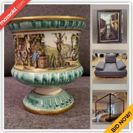 MaxSold Auction: This online auction features furniture such as contemporary sofa and armchair, MCM glass coffee table, modern dresser and side tables, modern queen iron bed frame, bar stool and more, jackets and coats, lamps, paintings, Majolica, karaoke microphone, figurines, decorative plates, food processor, decor and much more!