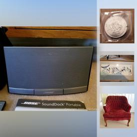 "MaxSold Auction: This online auction features signed ART. Electronics such as a Bose sound dock, iPod dock and Toshiba 26"" TV. Collectibles such as coins, Cross pens, Norman Rockwell plates, Selangor pewter figures, cloisonne, vintage Tom Sawyer book and a H scale train set and more!"