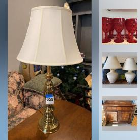 MaxSold Auction: This online auction features furniture, collectibles, decor, vintage items, Christmas decor, lamps, kids lot, Univega Bike, Decanters, Hummel, Pfaltzgraff, glass and flatwares, 11 Red Ruby goblets, air bed, Ski's, Camping Items, vacuum, bags, luggage, beddings, toys and much more.