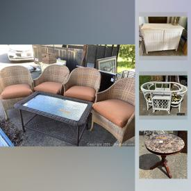 MaxSold Auction: This online auction features artwork, jewelry, furniture, Vizio TV, Noritake, kitchen items, Christmas decor, Vacuum, tools, clothing, Halloween items, cleaning materials, luggage and more.