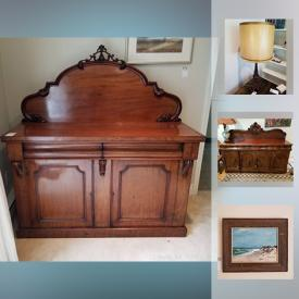 MaxSold Auction: This online auction features artworks, furniture, decor, Signed Sculpture, Art Glass, dishware, Oriental Vase, Silver Plate, tiffany lamp, chinaware, table lamps, books, wall clocks, area rug, kitchen appliances, Chest Freezer and more.