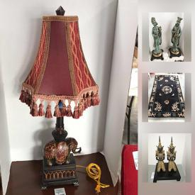 MaxSold Auction: This online auction features Asian wall art, Chinese cabinet with certificate, iron praying Buddhas, Asian yard statue, starter kitchen with mixer, knives silverware, decorative urns, jewelry, The dickens family carolers and Brass reindeer and much more.