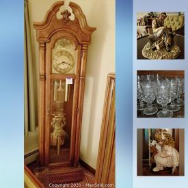 MaxSold Auction: This online auction features a grandfather clock, collectible dolls, figurines, porcelain flowers, porcelain dolls, ceramic standing plaques, canisters and figurine mugs, wall unit, Lenox china, display shelf, rag dolls, upholstered chairs, 2-tiered round display table, doll wicker furniture, marble top coffee table, lamps, Riviera blaupunkt radio, sofa, vases, silver rimmed glassware, jewelry, teacups, music boxes, bureau and much more!