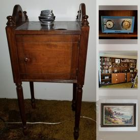 MaxSold Auction: This online auction features Signed Original Artworks, Beswick Dachshund, Chalet Glass Dish, Books, Vintage Radio Underwood typewriter, DVDs, CDs, LPs, Cabinet Record Player, Linens and much more.