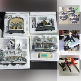 MaxSold Auction: This online auction features Thomas Kinkade Hawthorne Villages, rocks and minerals, doll collection, Theodore Haviland Mosaic China, MacGregor Umpire Gear, Rowenta Clothing Steamer, window air conditioner, cross country skis, Ventriloquist Mannequin, bell collection, chain saw, wood pellets and much more!