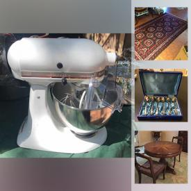 MaxSold Auction: This online auction features an antique teak pantry, antique dry sink, and antique wood trunk, collectibles such as silver plate serving ware, vintage comics, Dungeon and Dragons miniatures, Franklin Mint pewter, and Turkish serving ware, framed wall art, furniture such as pine dining table, microsuede sofa, bar stools, and maple drop-leaf table with chairs, jewelry such as vintage cameos, Delft pieces, and earrings, vintage glassware, kitchenware, vintage metal trunk, holiday decor, Skilsaw, and hand tools, vintage kitchen pantry, lamps, Bose speakers, Black and Decker power washer, office equipment, electric glass top range, sporting equipment, area rugs and much more!