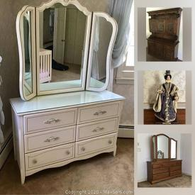 MaxSold Auction: This online auction features a wooden china buffet, entertainment armoire, demilune table, Ethan Allen hutch, sofa, bedroom set, tall dresser, vintage bedroom set, figurines, decor, art, South African wood carvings, rugs, lamps and much more!
