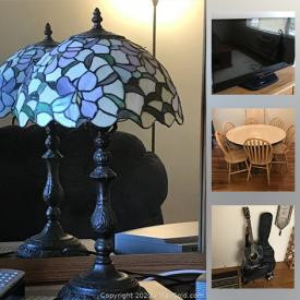 MaxSold Auction: This online auction features artworks, furniture, floor lamp, electronics, kitchenware, appliances, tiffany lamps, Bose wave, Yamaha guitar, recliner, Humidifier, Nautical dinnerware, luggage and much more.