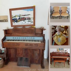 MaxSold Auction: This online auction features antique Haddorff piano, pipe organ, vintage handbags, collectibles such as Franklin Mint plates, silver plate items, Coalport, and fine bone china, art such as signed paintings, framed prints, and small sculptures, furniture such as antique chairs, mahogany credenza, dining room table with chairs, and mid-century coffee table, electronics such as Dolby stereo system, GE microwave, and Mitsubishi TV, dining ware, ceramic planters, holiday decor, table lamps, books, art glass, glassware, kitchenware, luggage sets, fishing equipment, photography and video equipment, hand tools, art supplies, linens, Singer sewing machine, office supplies, filing cabinets, women's clothing, women's shoes and much more!