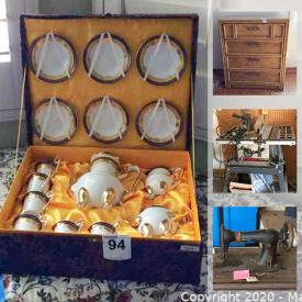 MaxSold Auction: This online auction features variable drill press, band saw, sports equipment, vintage pyrex mixing bowls, kitchen appliances, China tea sets, barware, electronics, toys & games, vintage faux bamboo furniture, BBQ grill and much more!