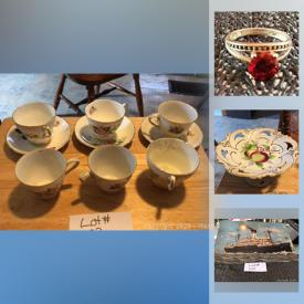MaxSold Auction: This online auction features glassware, teacups and saucers, pinwheel cream and serving dishes, teapot, wine set and more, kitchen items, costume jewelry, beanie babies, silver bars, signs, mother of pearl game box, polaroid joy cam, photo frames and much more!