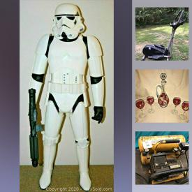 """MaxSold Auction: This online auction features glasses, mugs, hair tools, fabric steamer, room divider, small kitchen appliances, kitchen items, PlayStation lot, cutlery, dolls, doll shoes, toys, vacuum steamer, lace doilies, 31"""" Star Wars storm trooper, vintage luggage, crystal stemware, Pez dispensers, cookbooks, dollhouses, elliptical, bikes, glider, child's scooter, compressor, kids instruments, pet items, clocks, lamps, Coca Cola collectibles, Razer keyboard, baskets, Asian items, carved wooden items and much more!"""