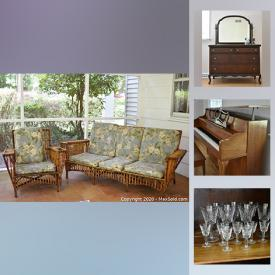 MaxSold Auction: This online auction features a piano, vintage watches, furniture such as a china cabinet, outdoor furniture, Adirondack chairs, pedestal table, wood table, vintage chairs, glass table, rattan sofa and chair, side tables, linens, jewelry, humidifier, Waterford glassware, Belleek china, household items, vacuum, glassware, stone planters, shed contents, garden sprayer, printer, cooler and much more!