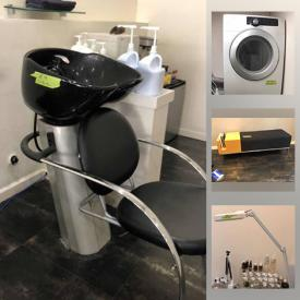 MaxSold Auction: This online auction features hair stylist station cabinets, floating white shelves, display cabinets, black leather Chrome chairs, comfort sink and chair, mini Refrigerator, Samsung dryer, GE washer, stylist chairs, wood-framed mirrors, massage table, towel warmer and much more!