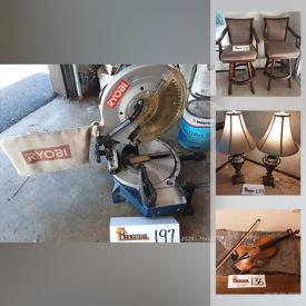 MaxSold Auction: This online auction features brass and wood telescope, children's books, beer steins, sake sets, carousel horse, decorative plates, Vizio TV, vintage violin, small kitchen appliances, peacock loom, infinity speakers, fishing poles, compound mitre saw, pet crate, smokeless Oil heater and much more!