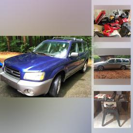 MaxSold Auction: This online auction features craftsman table saw, solar power kits, washer, dryer, refrigerator, telescoping multi ladder, tools, riding lawn mower, snowblower, lawn tractor, 2004 Subaru forester and much more!