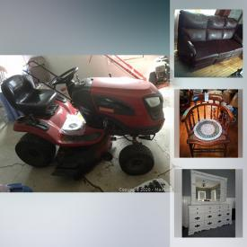 MaxSold Auction: This online auction features furniture, decors, collectibles, kitchenware, glassware, camera, Medical Aids, office supplies, party supplies, Fiesta BBQ, handtools, Fishing Tackle, garage tools, Lawn Tractor, Rototiller and much more.