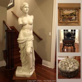 MaxSold Auction: This online auction features Statue, Tapestry with wooden rod, Ethan Allen New Chairs, Mirror and Ethan Allen entry cabinet.