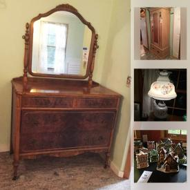 MaxSold Auction: This online auction features furniture such as a bookcase, dresser, chest, trunk on wheels, side table, file cabinet, antique chest, corner media stand, MCMC buffet, washstand, rattan bench, vintage dresser, wine storage, cupboard and more, antique saw box, terracotta pots, hurricane lamp, Warmink clock, dollhouse miniatures, view master, jigsaw puzzles, crocks, slide projector, vintage albums, VHS, needlework, pottery, vintage and antique decor, teapots and much more!
