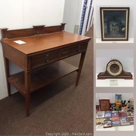 MaxSold Auction: This online auction features a Sherlock Collection, James Bond Collection, Antiques, Danish Teak Dining Table, books, pocket watch, Royal Doulton mug, DVDs, office supplies, Canon cameras, kitchenware, art, mylar recording wheel, engraved crystal, echo dot, art books and much more!