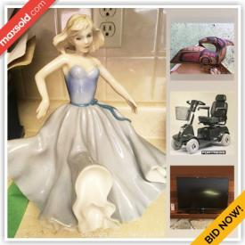 MaxSold Auction: This online auction features camping gear, original art, Samsung TV, Royal Doulton figures, hummels, cat decor, Indigenous wood carvings, silver jewelry, Armadillo decor, power scooter, Stanley furniture and much more!