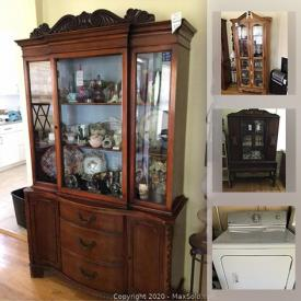 MaxSold Auction: This online auction features Maytag washer & dryer, LED TV, Asian decor, ceramic element ionic heater, teapots, Hobnail glass, Bing & Grondahl plates, antique drinks cabinet, antique iron, gardening supplies, window air conditioner, plants, hand tools and much more!