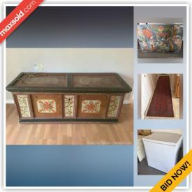 MaxSold Auction: This online auction features antique blanket chest, l-shaped kitchen banquet, Scandinavian leather furniture, vintage Bavaria Tirschenreuth China, authentic pieces of the Berlin wall, area carpets, small kitchen appliances, frigidaire chest freezer, antique flat irons and much more!