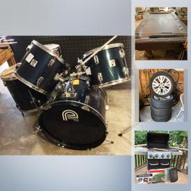 MaxSold Auction: This online auction features Longaberger baskets, sports gear, pressure washer, camping gear, scroll saw, yard tools, vintage toys, BBQ grill, tires, Craftsman lawnmower, shop-vac, tools, ping-pong table, drum set, Brunswick pool table, TV and much more!