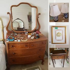 MaxSold Auction: This online auction features golf clubs, grandfather clock, Bill Reid art, Envision TV, antique chairs, vintage stained glass panel, small kitchen appliances, printers stone, brass bed, antique dressers and much more!