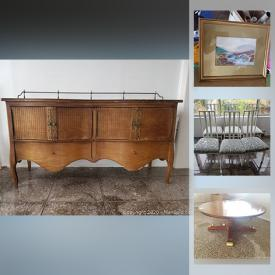 MaxSold Auction: This online auction features mantle clocks, adjustable table, oak chairs, vintage table with stools, pots, antique buffet, dishware, art, prints, office chair and printer, workstation, art supplies, record album holder, camera, typewriter and much more!