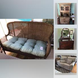 """MaxSold Auction: This online auction features patio and gardening equipment, planters, a 33"""" Samsung TV, a 46"""" Samsung 3D TV, vinyl records, wall art, Indonesian hand-carved wood triptych art and much more!"""