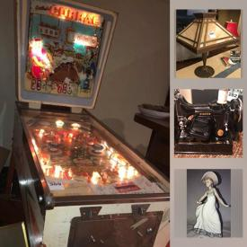 MaxSold Auction: This online auction features pinball machines, jukebox, tin toys, Shelley China, Cloisonne bowl, antique scale, Persian lamb coats, postage stamps, Iroquois Moccasins, coins & bills, sports equipment, Edison Gramophone, vintage Shelley Jelly moulds, MCM original art, slag glass lamp, coca-cola collectibles, antique buffet and much more!