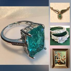 MaxSold Auction: This online auction features vintage jewelry, antique stereopticon cards, antique metal banks, large mirrored cat sculpture, coins, round cut citrine dinner ring, large Amethyst Estate earrings, Scientific gear, large diamond ribbon ring, a pink Sapphire dinner ring, vintage Carhartt jacket, tintypes and much more!