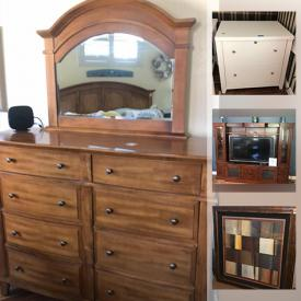 MaxSold Auction: This online auction features a Husqvarna sewing machine, sewing desk, Fiestaware, cutlery, cabinet, nightstands, clocks, king bed, hutch, Pfaltzgraff, tables, entertainment center, wicker patio furniture, art, decor, cutlery, Murano, china and much more!