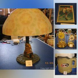 MaxSold Auction: This online auction features die-cast banks, tobacco tins, railroad lantern, showcases, wade mugs, board games, Novelty teapot, Chinese tea set, crafting beads, Hockey cards and much more!