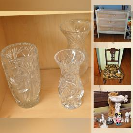 """MaxSold Auction: This online auction features antiques such as antique wooden chair, antique cabinet, and antique table, collectibles such as milk glass, Wade figures, Blue Mountain pottery, Paragon, and silver plate, Danby freezer, refrigerator, furniture such as Malcolm dresser, swivel rocker, TV stand, end tables, and La-Z-Boy recliner, electronics such as 22"""" Dynes HDTV, Hitachi boombox, and 31"""" Sony TV, art such as acrylic on canvas, framed prints, and metal wall art, crystal ware, glassware, home decor, shelving units, board games, home health aids, vintage books, kitchenware, aquarium, fishing gear, DVDs, CDs, handbags, planters, children's toys such as kitchen playset, and rocking horse, linens and much more!"""