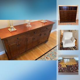 MaxSold Auction: This online auction features wooden dining furniture, cloth chairs and seating, ottomans, fireplace tools and much more!