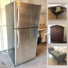MaxSold Auction: This online auction features antique Armoires, Italstudio chrome table, antique headboards, antique parlour chair, fur & leather coats, Kenmore refrigerator and much more!
