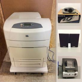 MaxSold Auction: This online auction features commercial printer, shelving units, speakers, Samsung Wifi speakers, Google voice kits, circuit accessories, new safety gear, computer equipment, streaming devices, audio equipment and much more!