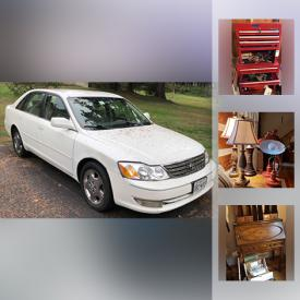 """MaxSold Auction: This online auction features 2003 Toyota Avalon, collectibles such as Royal Doulton, Mikasa, Limoges, Coca-Cola, and coins, furniture such as table lamps, recliner, MCM end table, kitchen cart, and ladder back chairs, electronics such as 42"""" Sharp TV, Philips DVD player, HP printer, and computer peripherals, art such as Murano art glass, signed framed prints, and maps, books, lamps, CDs, porcelain, dishware, area rugs, winter accessories, handbags, glassware, small kitchen appliances, wooden cabinets, kitchenware, linens, shelving, sterling silver jewelry, vases, board games, filing cabinets, office supplies, home decor, cameras, books, Christmas decor, sewing machines, luggage, Haier mini fridge, GE freezer, outdoor furniture, Yard Machines wood chipper, outdoor benches, home health aids, boat maintenance supplies, towing hitch, garden tools, Hang Ten bicycle, power tools such as Ryobi drill, Porter compressor, and Porter grinder, hand tools, vintage sled, ceiling fan, ladders, power washer, Ariens snow thrower, fishing gear and much more!"""