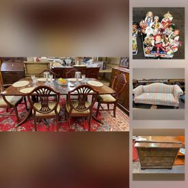 MaxSold Auction: This online auction features collectibles such as crystal ware, sports memorabilia, silver plate, Delft, Limoges, Royal Doulton and vintage Barbie, furniture such as mahogany dining table with chairs, armchairs, Bassett dresser, and side tables, art such as original paintings, embroidery, and signed prints, electronics such as Epson printer, Kenwood stereo, and Kodo projector, men's and women's clothing such as suits, outerwear, blouses, shoes and dresses, handbags, area rugs, linens, home decor, bookcases, shelving, books, Black and Decker power tools, kitchenware, mirrors, small kitchen appliances, vacuums, international dolls, ceiling fans and much more!